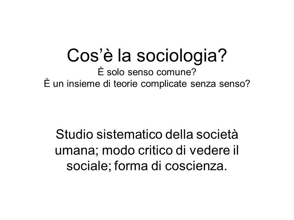 Cos'è la sociologia. È solo senso comune