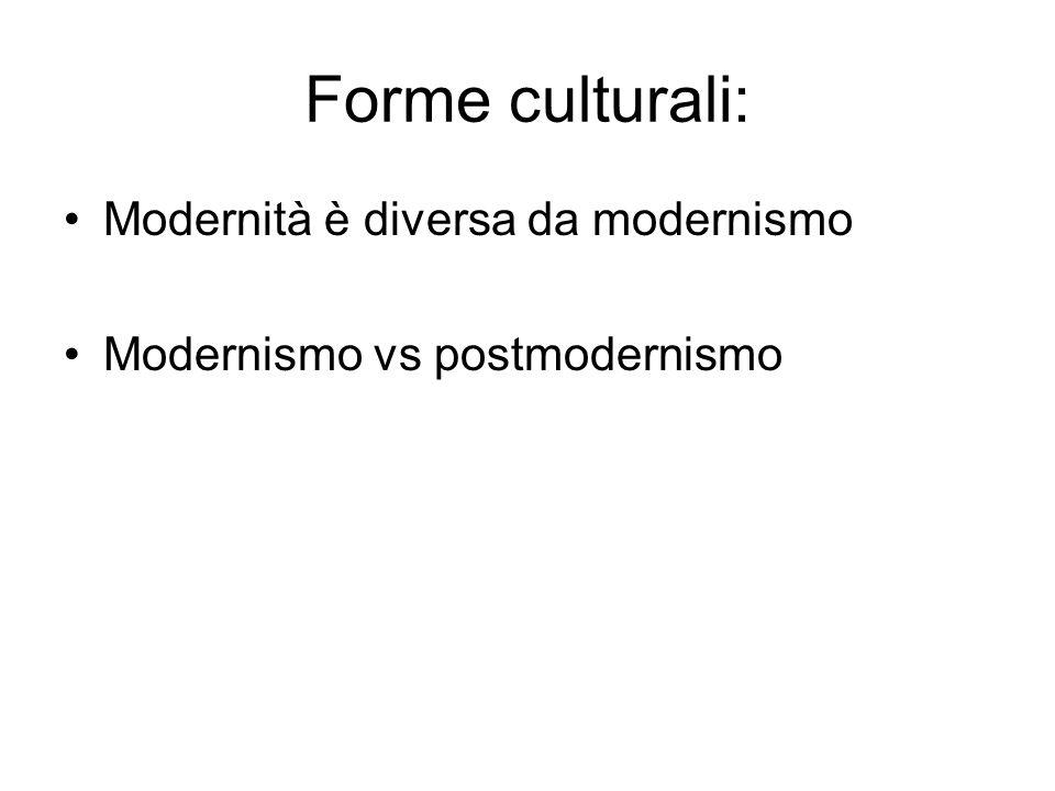 Forme culturali: Modernità è diversa da modernismo