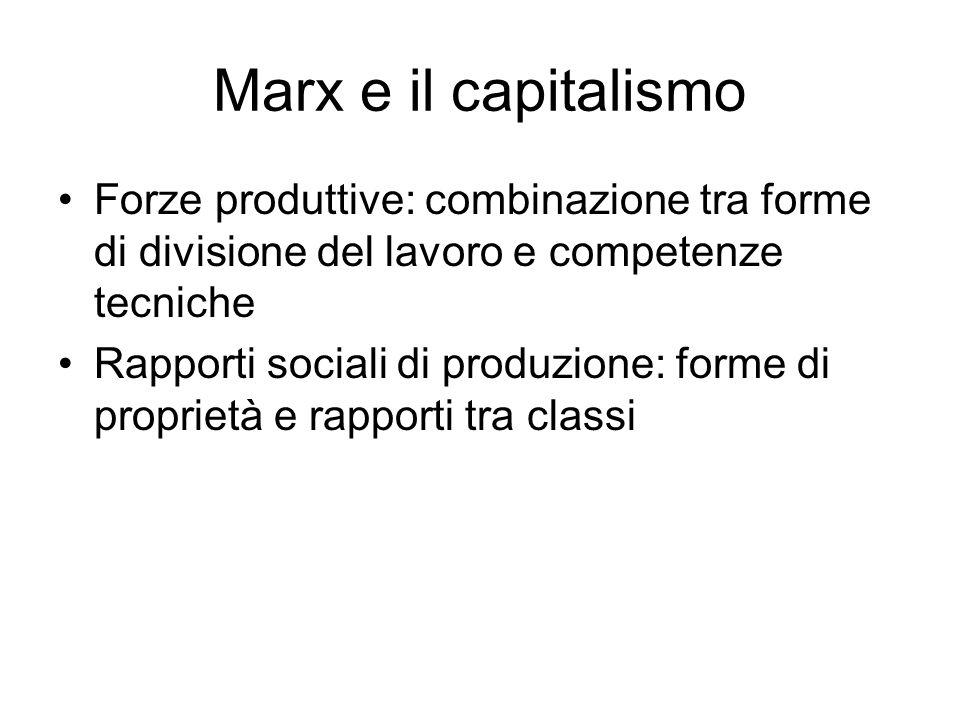 Marx e il capitalismo Forze produttive: combinazione tra forme di divisione del lavoro e competenze tecniche.