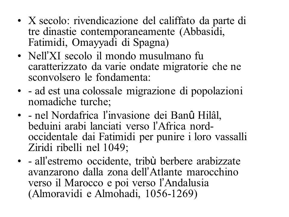 X secolo: rivendicazione del califfato da parte di tre dinastie contemporaneamente (Abbasidi, Fatimidi, Omayyadi di Spagna)