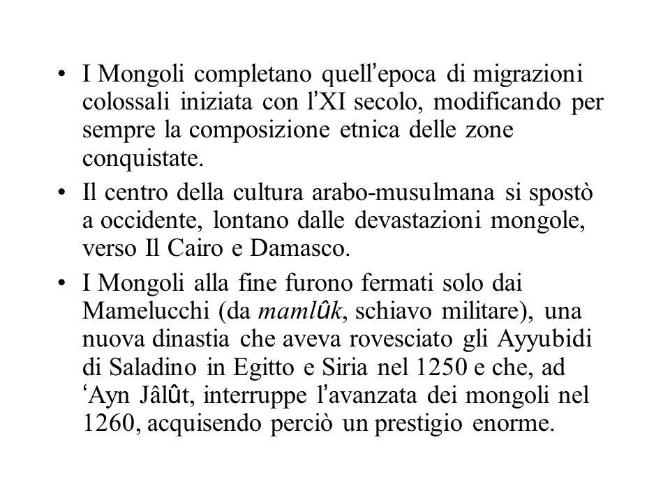 I Mongoli completano quell'epoca di migrazioni colossali iniziata con l'XI secolo, modificando per sempre la composizione etnica delle zone conquistate.