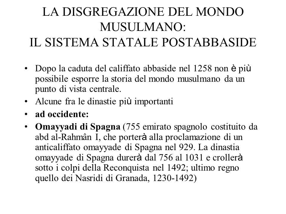 LA DISGREGAZIONE DEL MONDO MUSULMANO: IL SISTEMA STATALE POSTABBASIDE