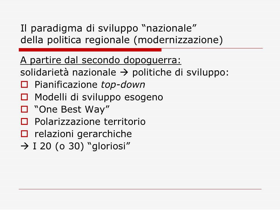Il paradigma di sviluppo nazionale della politica regionale (modernizzazione)