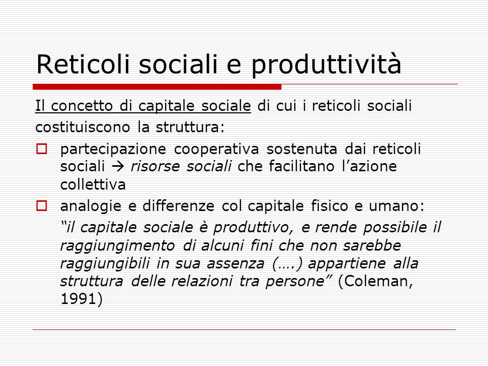 Reticoli sociali e produttività