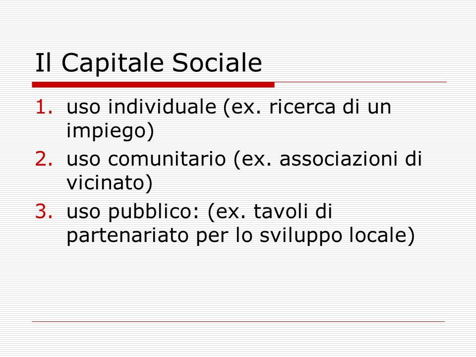 Il Capitale Sociale uso individuale (ex. ricerca di un impiego)