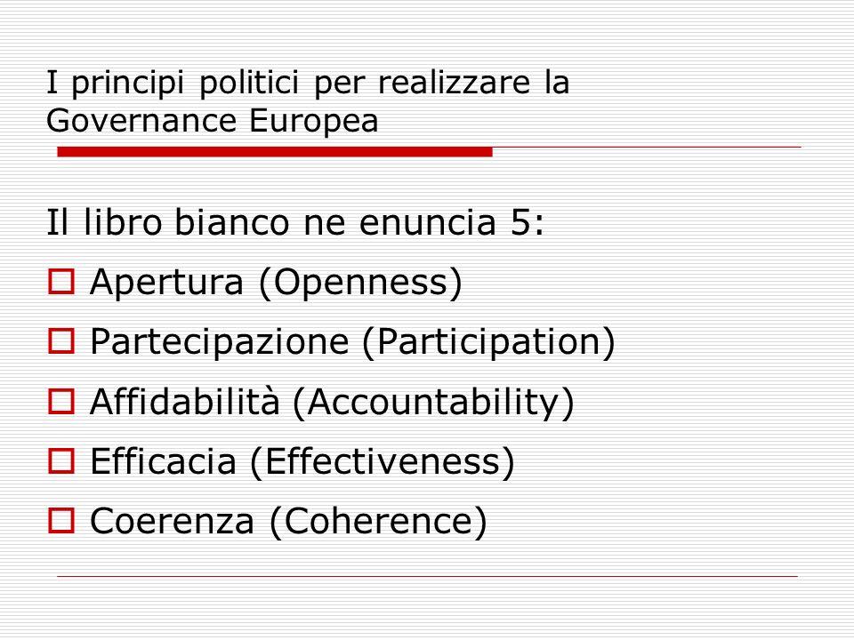 I principi politici per realizzare la Governance Europea