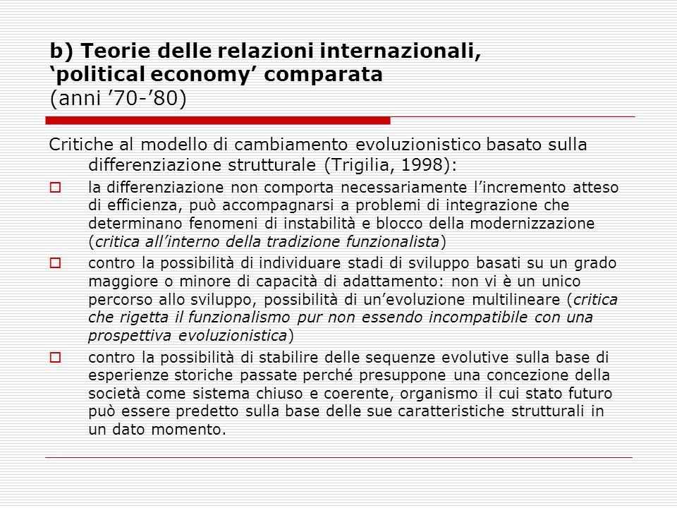b) Teorie delle relazioni internazionali, 'political economy' comparata (anni '70-'80)