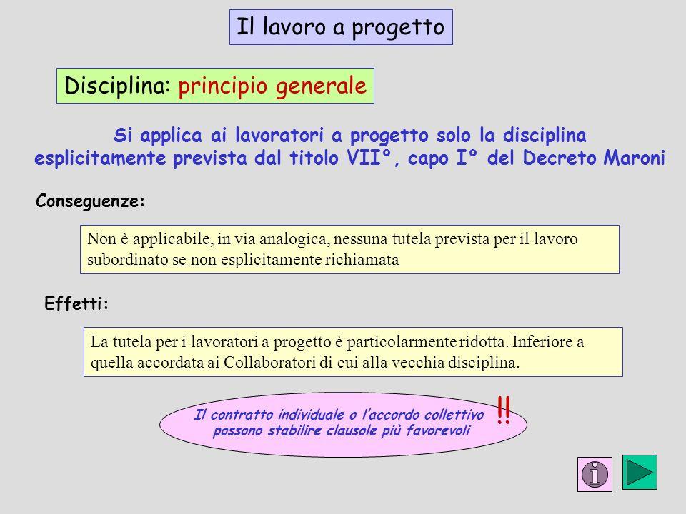 !! Il lavoro a progetto Disciplina: principio generale
