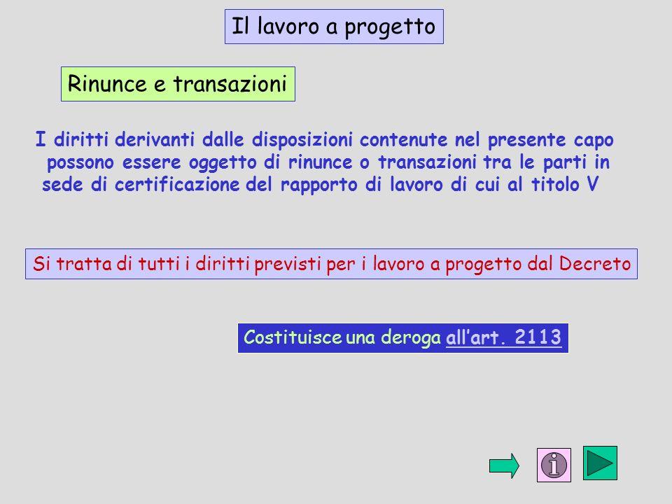 Il lavoro a progetto Rinunce e transazioni