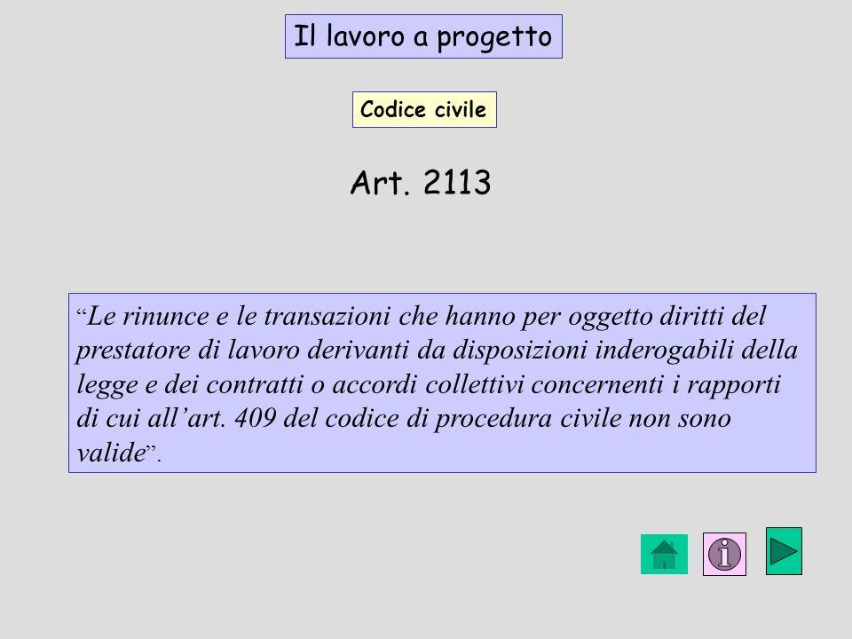 Art. 2113 Il lavoro a progetto