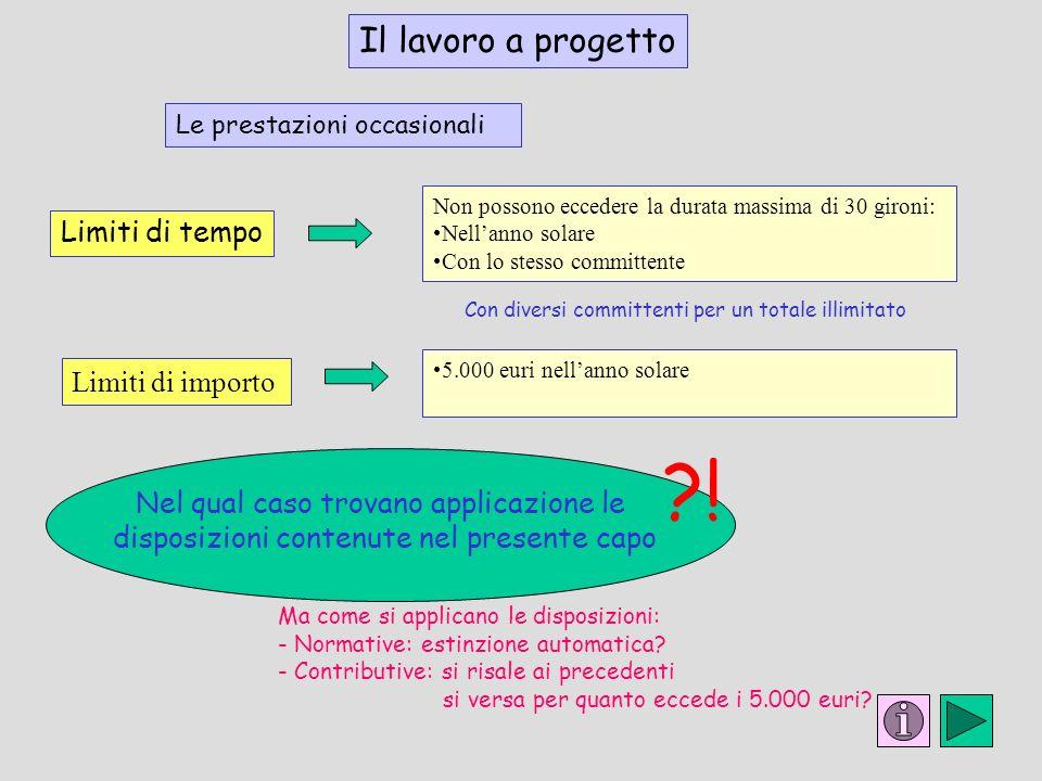 ! Il lavoro a progetto Limiti di tempo Limiti di importo