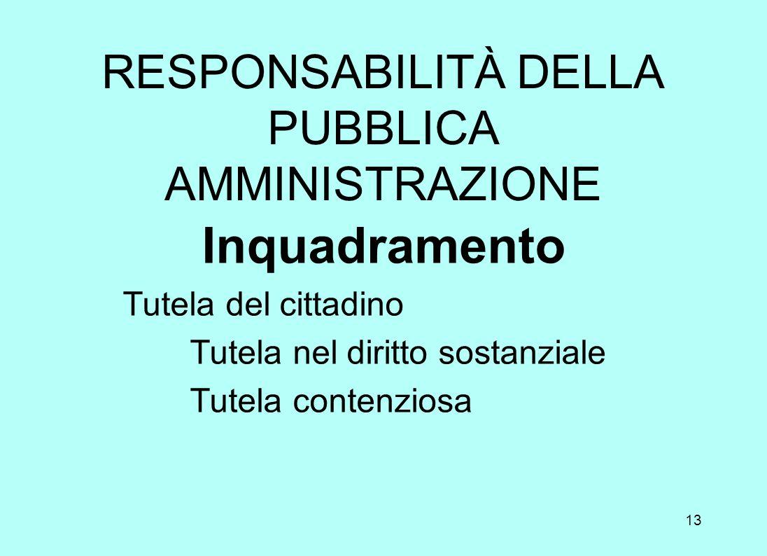 RESPONSABILITÀ DELLA PUBBLICA AMMINISTRAZIONE
