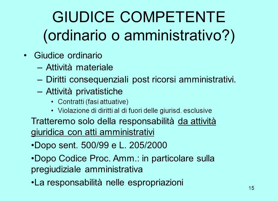 GIUDICE COMPETENTE (ordinario o amministrativo )