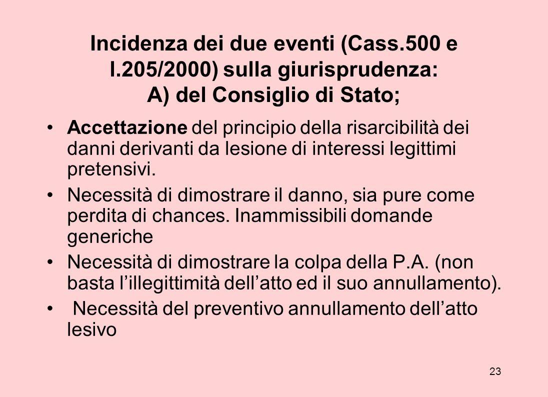 Incidenza dei due eventi (Cass. 500 e l