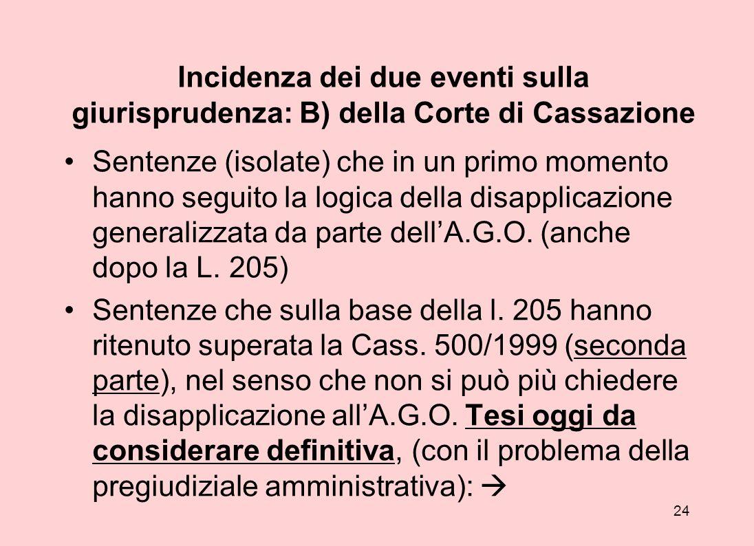 Incidenza dei due eventi sulla giurisprudenza: B) della Corte di Cassazione