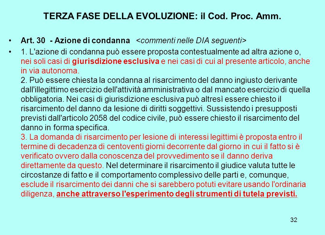 TERZA FASE DELLA EVOLUZIONE: il Cod. Proc. Amm.