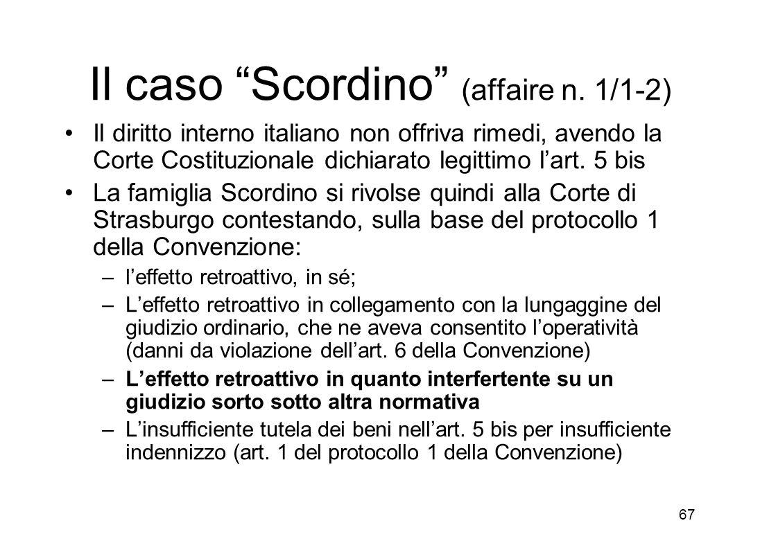 Il caso Scordino (affaire n. 1/1-2)