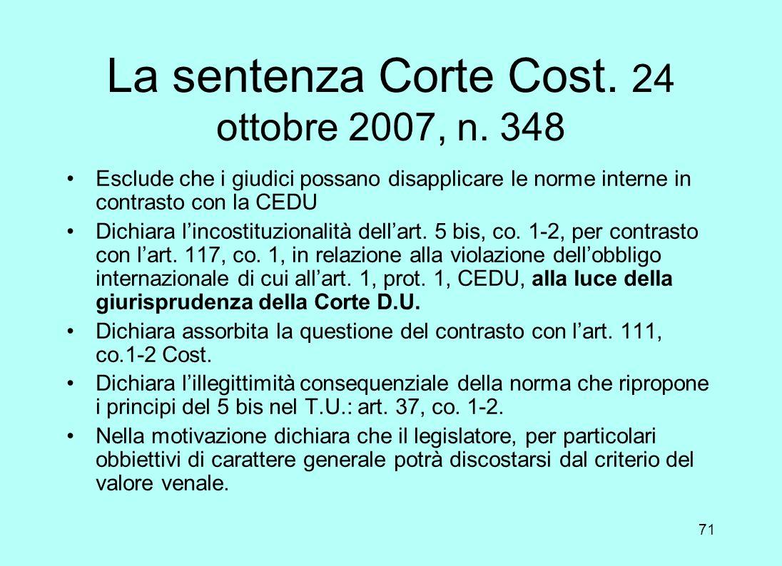La sentenza Corte Cost. 24 ottobre 2007, n. 348