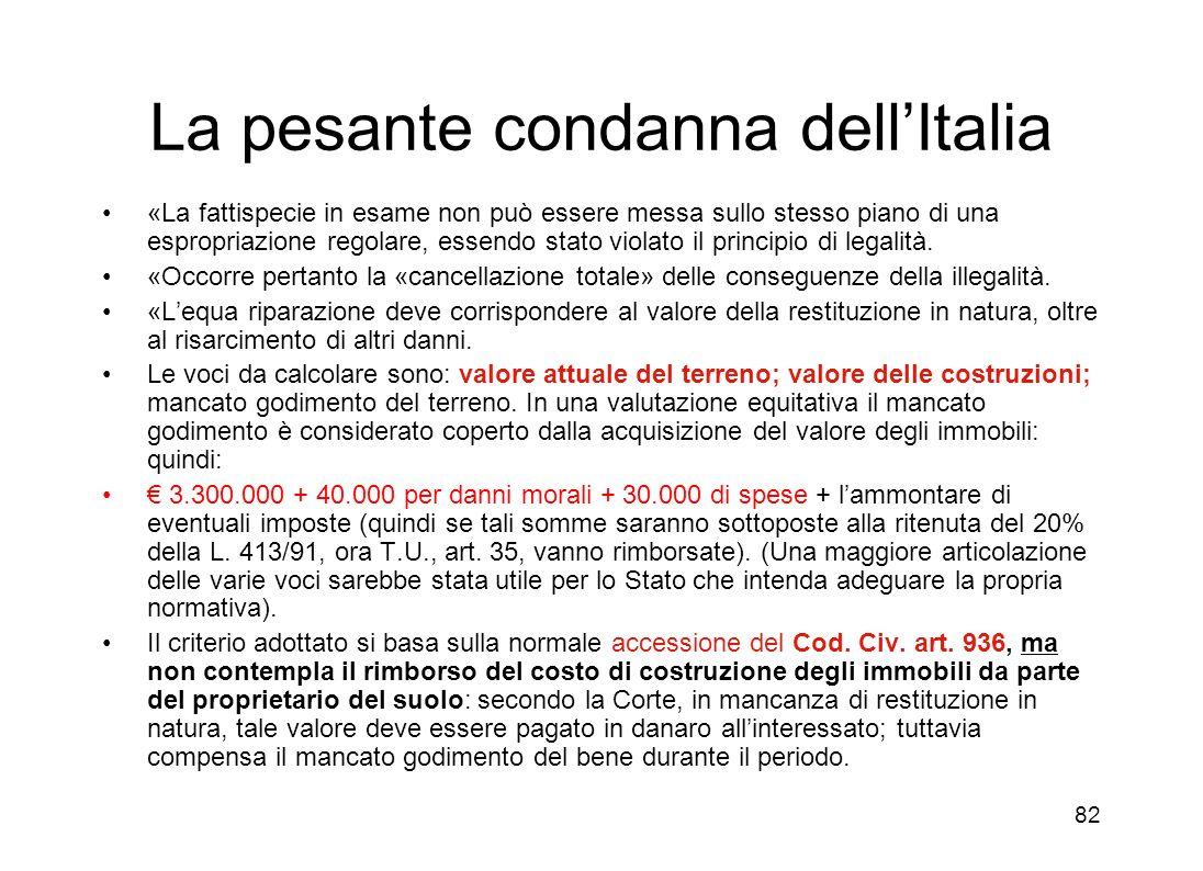 La pesante condanna dell'Italia
