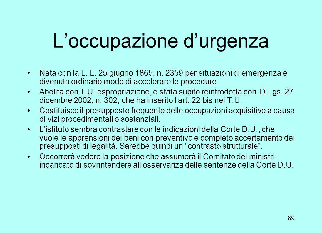 L'occupazione d'urgenza