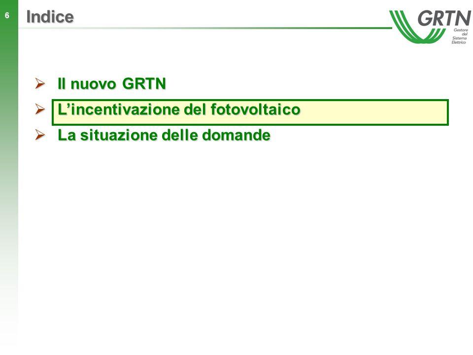 Indice Il nuovo GRTN L'incentivazione del fotovoltaico
