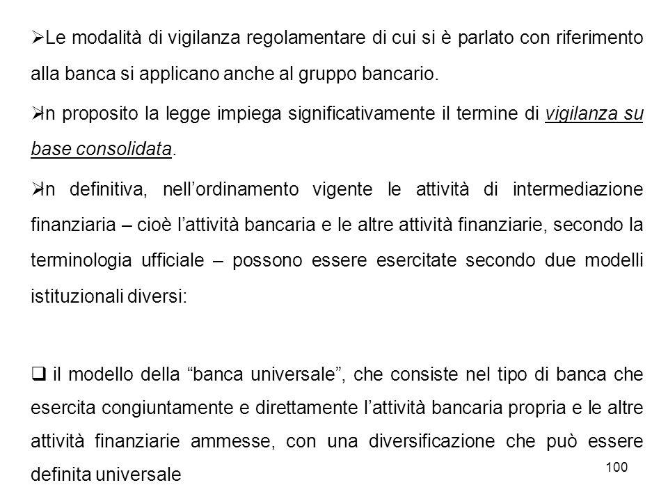 Le modalità di vigilanza regolamentare di cui si è parlato con riferimento alla banca si applicano anche al gruppo bancario.