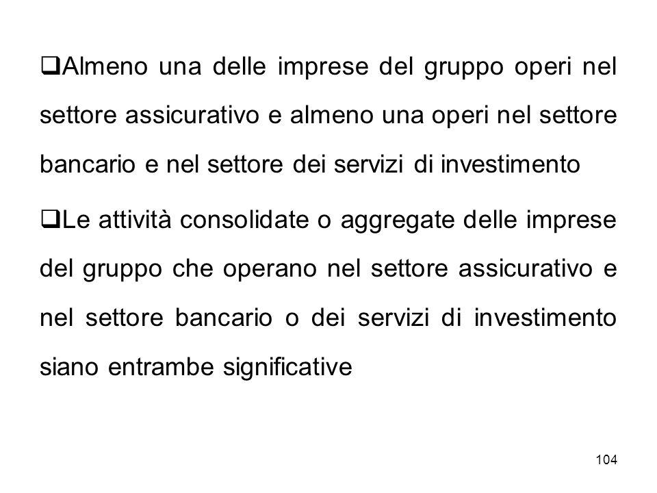 Almeno una delle imprese del gruppo operi nel settore assicurativo e almeno una operi nel settore bancario e nel settore dei servizi di investimento