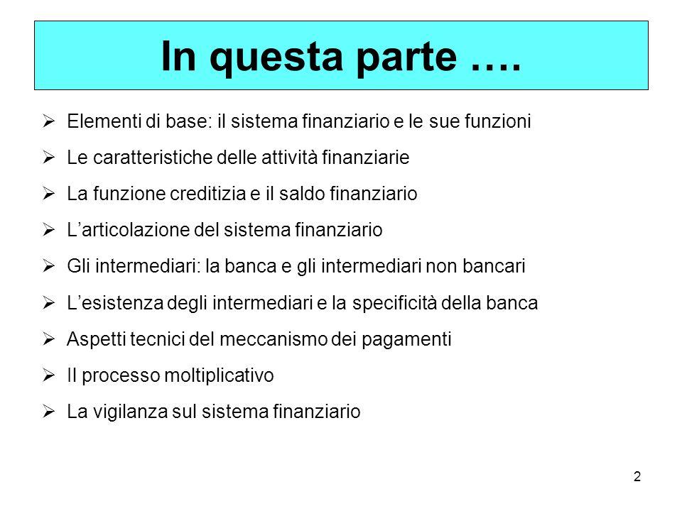 In questa parte …. Elementi di base: il sistema finanziario e le sue funzioni. Le caratteristiche delle attività finanziarie.