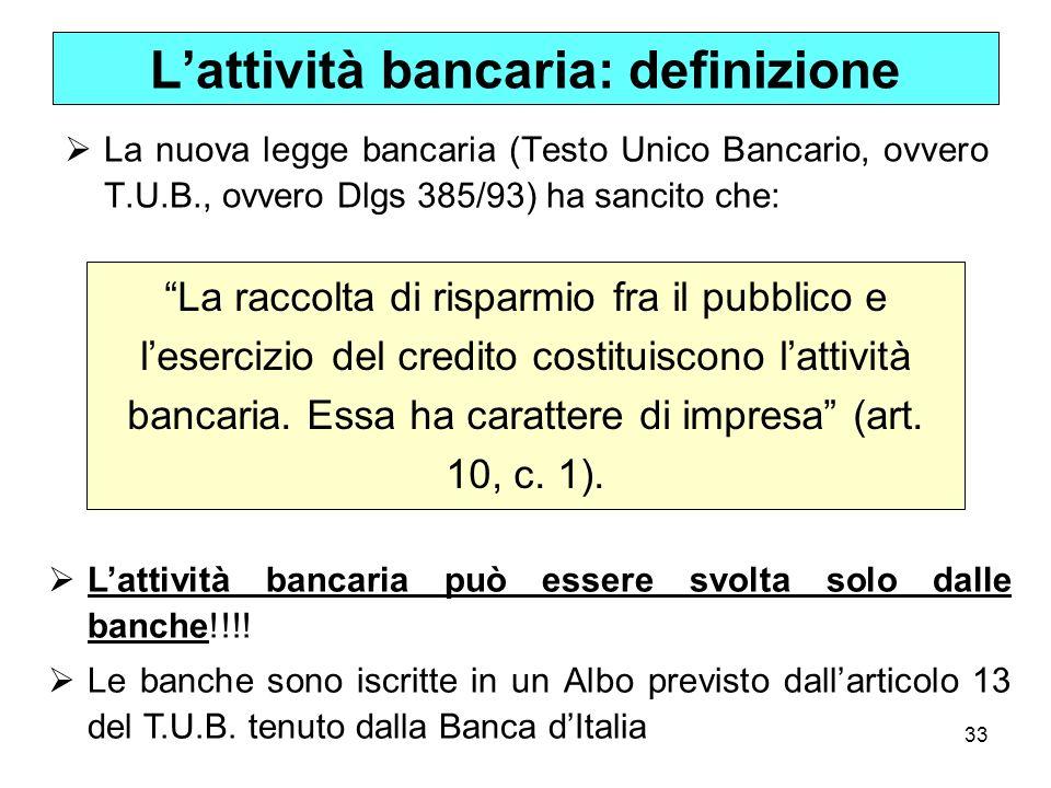 L'attività bancaria: definizione
