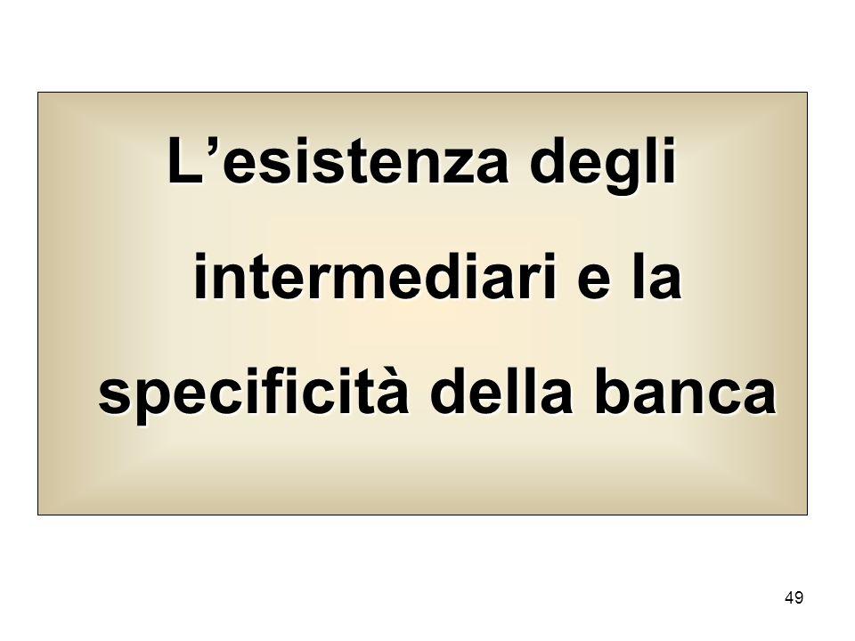 L'esistenza degli intermediari e la specificità della banca