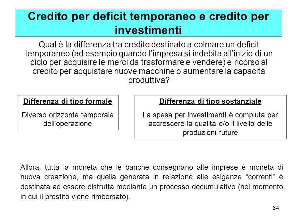 Credito per deficit temporaneo e credito per investimenti