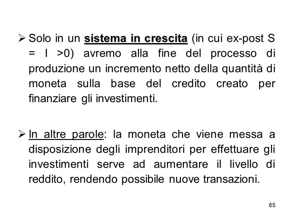 Solo in un sistema in crescita (in cui ex-post S = I >0) avremo alla fine del processo di produzione un incremento netto della quantità di moneta sulla base del credito creato per finanziare gli investimenti.