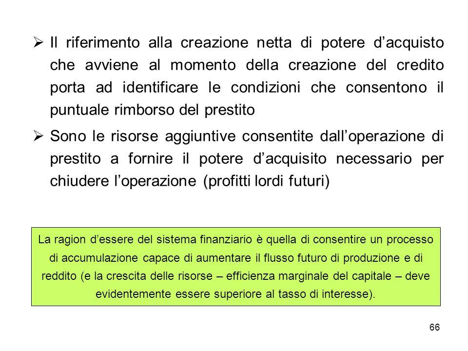 Il riferimento alla creazione netta di potere d'acquisto che avviene al momento della creazione del credito porta ad identificare le condizioni che consentono il puntuale rimborso del prestito