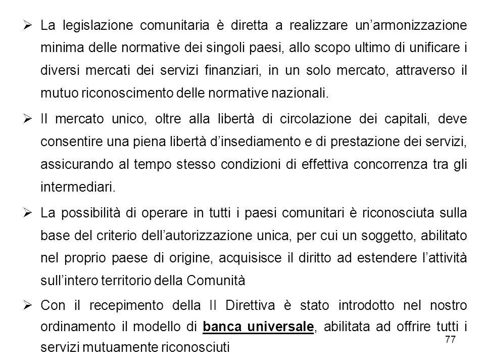 La legislazione comunitaria è diretta a realizzare un'armonizzazione minima delle normative dei singoli paesi, allo scopo ultimo di unificare i diversi mercati dei servizi finanziari, in un solo mercato, attraverso il mutuo riconoscimento delle normative nazionali.