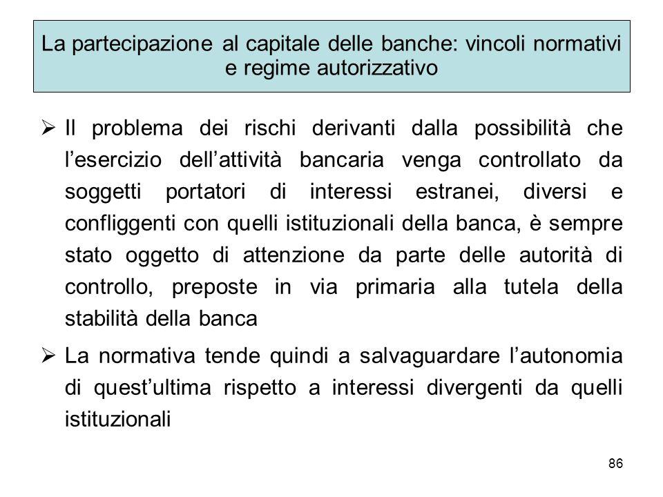 La partecipazione al capitale delle banche: vincoli normativi e regime autorizzativo