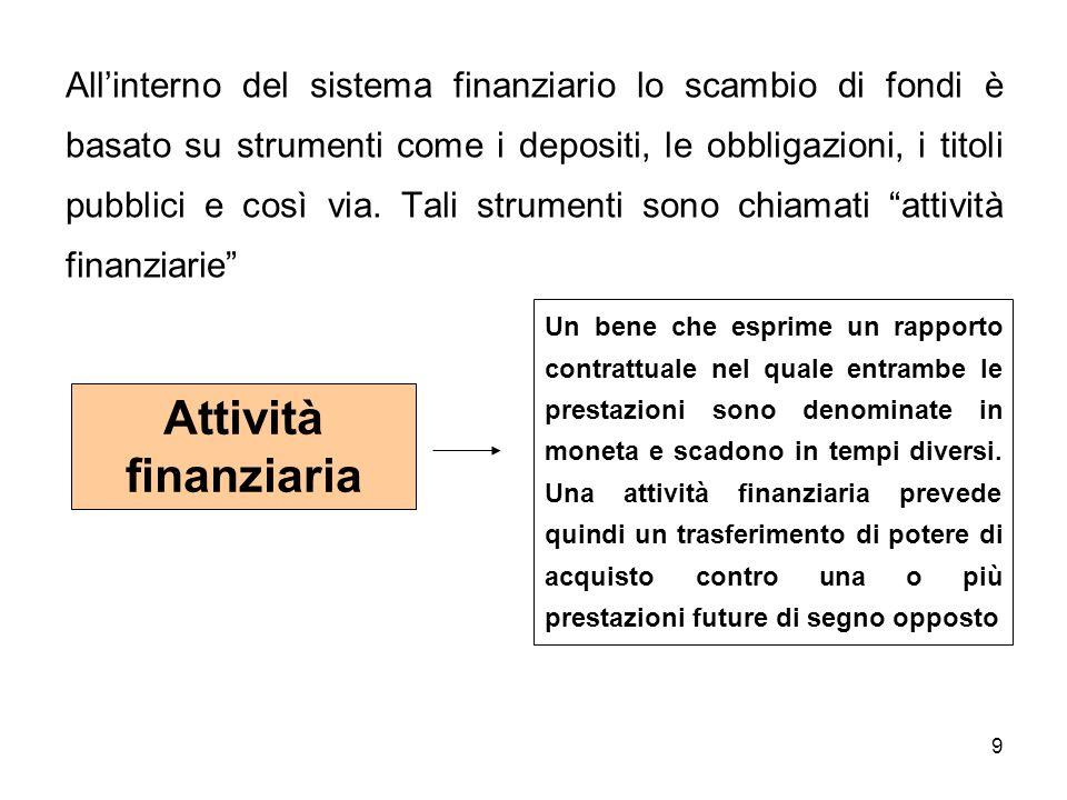 All'interno del sistema finanziario lo scambio di fondi è basato su strumenti come i depositi, le obbligazioni, i titoli pubblici e così via. Tali strumenti sono chiamati attività finanziarie