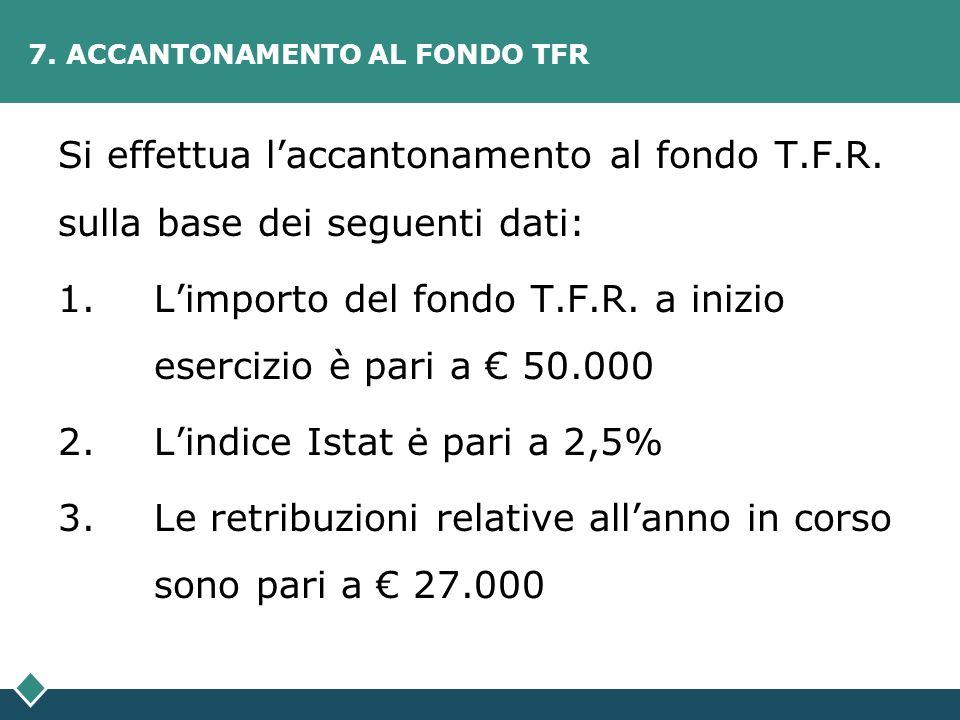 7. ACCANTONAMENTO AL FONDO TFR