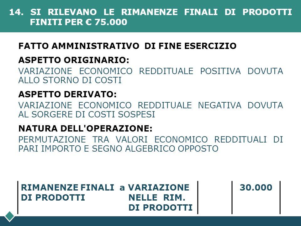 14. SI RILEVANO LE RIMANENZE FINALI DI PRODOTTI FINITI PER € 75.000