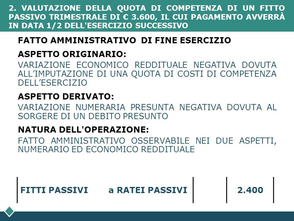 FATTO AMMINISTRATIVO DI FINE ESERCIZIO ASPETTO ORIGINARIO: