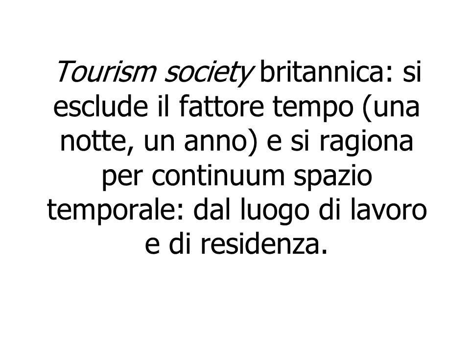 Tourism society britannica: si esclude il fattore tempo (una notte, un anno) e si ragiona per continuum spazio temporale: dal luogo di lavoro e di residenza.
