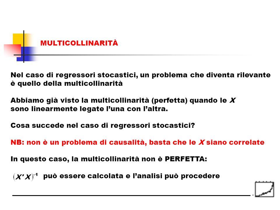 MULTICOLLINARITÀ Nel caso di regressori stocastici, un problema che diventa rilevante. è quello della multicollinarità.