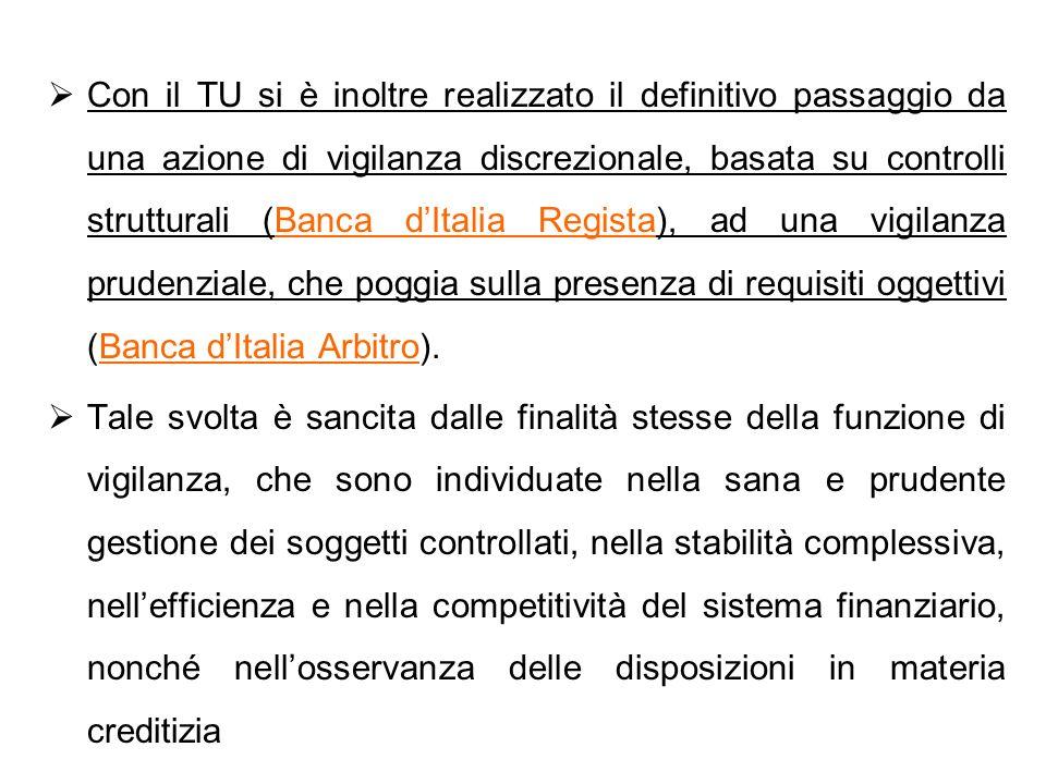 Con il TU si è inoltre realizzato il definitivo passaggio da una azione di vigilanza discrezionale, basata su controlli strutturali (Banca d'Italia Regista), ad una vigilanza prudenziale, che poggia sulla presenza di requisiti oggettivi (Banca d'Italia Arbitro).