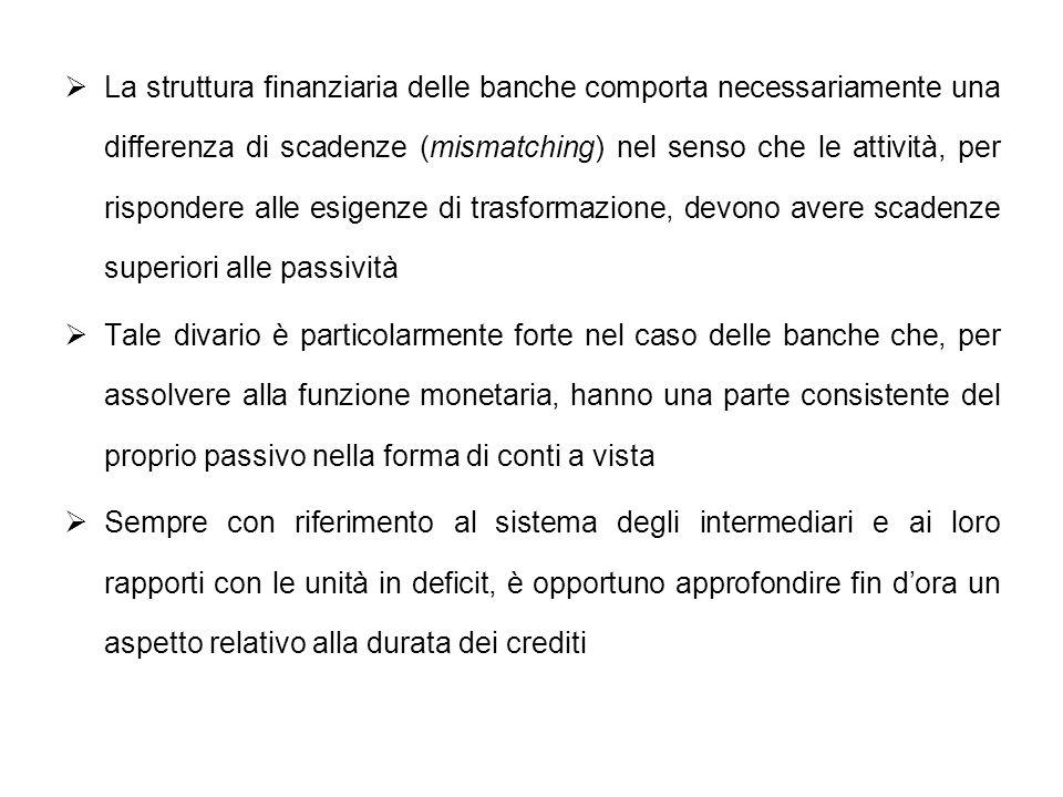 La struttura finanziaria delle banche comporta necessariamente una differenza di scadenze (mismatching) nel senso che le attività, per rispondere alle esigenze di trasformazione, devono avere scadenze superiori alle passività