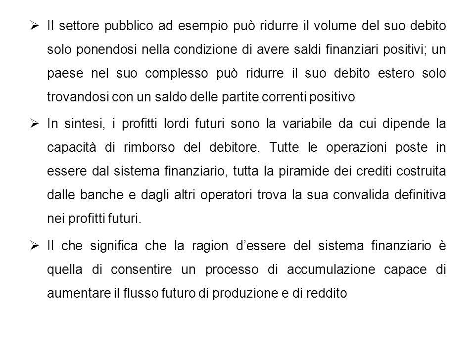 Il settore pubblico ad esempio può ridurre il volume del suo debito solo ponendosi nella condizione di avere saldi finanziari positivi; un paese nel suo complesso può ridurre il suo debito estero solo trovandosi con un saldo delle partite correnti positivo