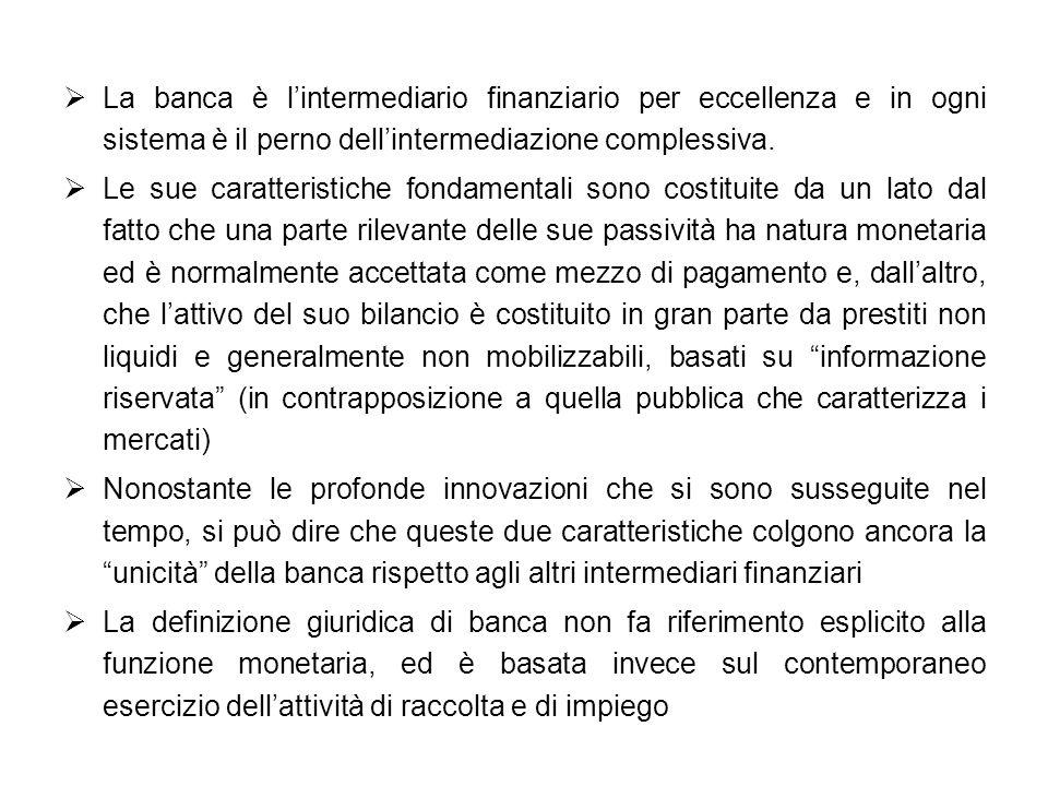 La banca è l'intermediario finanziario per eccellenza e in ogni sistema è il perno dell'intermediazione complessiva.