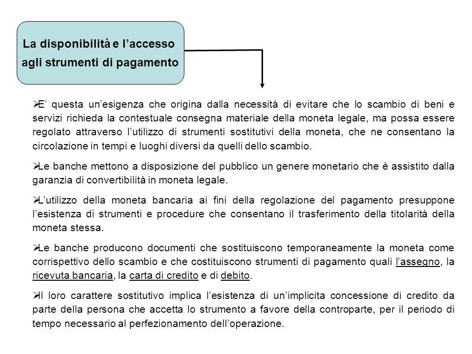 La disponibilità e l'accesso agli strumenti di pagamento
