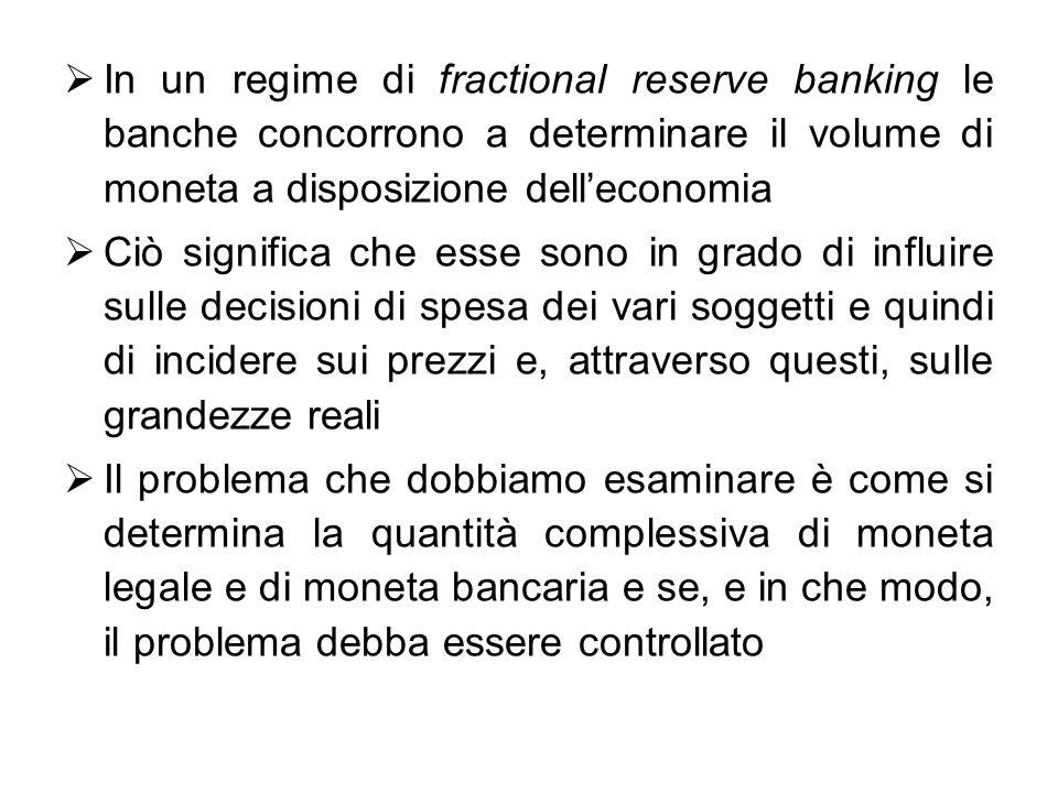 In un regime di fractional reserve banking le banche concorrono a determinare il volume di moneta a disposizione dell'economia