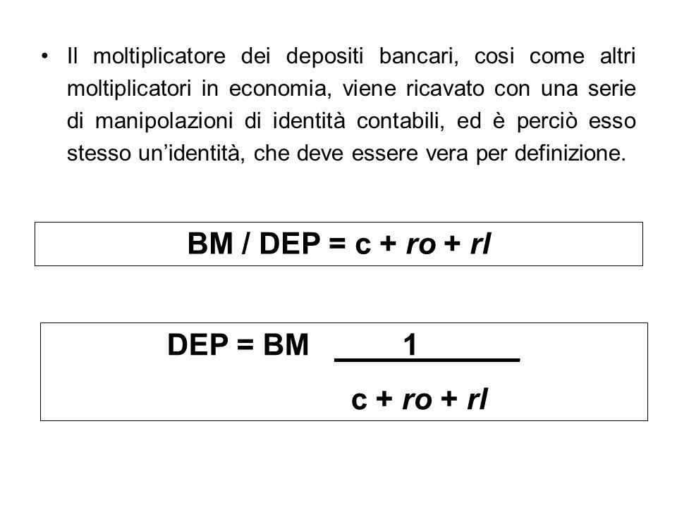 BM / DEP = c + ro + rl DEP = BM ____1______ c + ro + rl