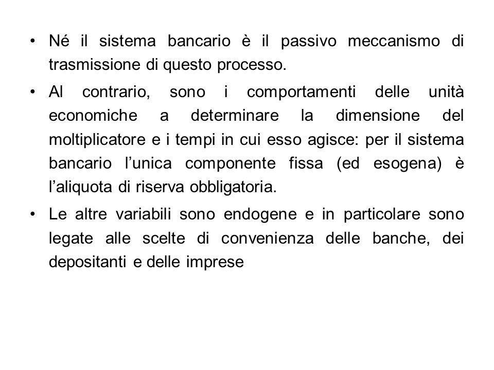 Né il sistema bancario è il passivo meccanismo di trasmissione di questo processo.