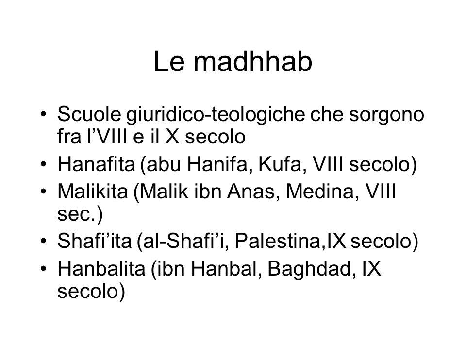 Le madhhab Scuole giuridico-teologiche che sorgono fra l'VIII e il X secolo. Hanafita (abu Hanifa, Kufa, VIII secolo)